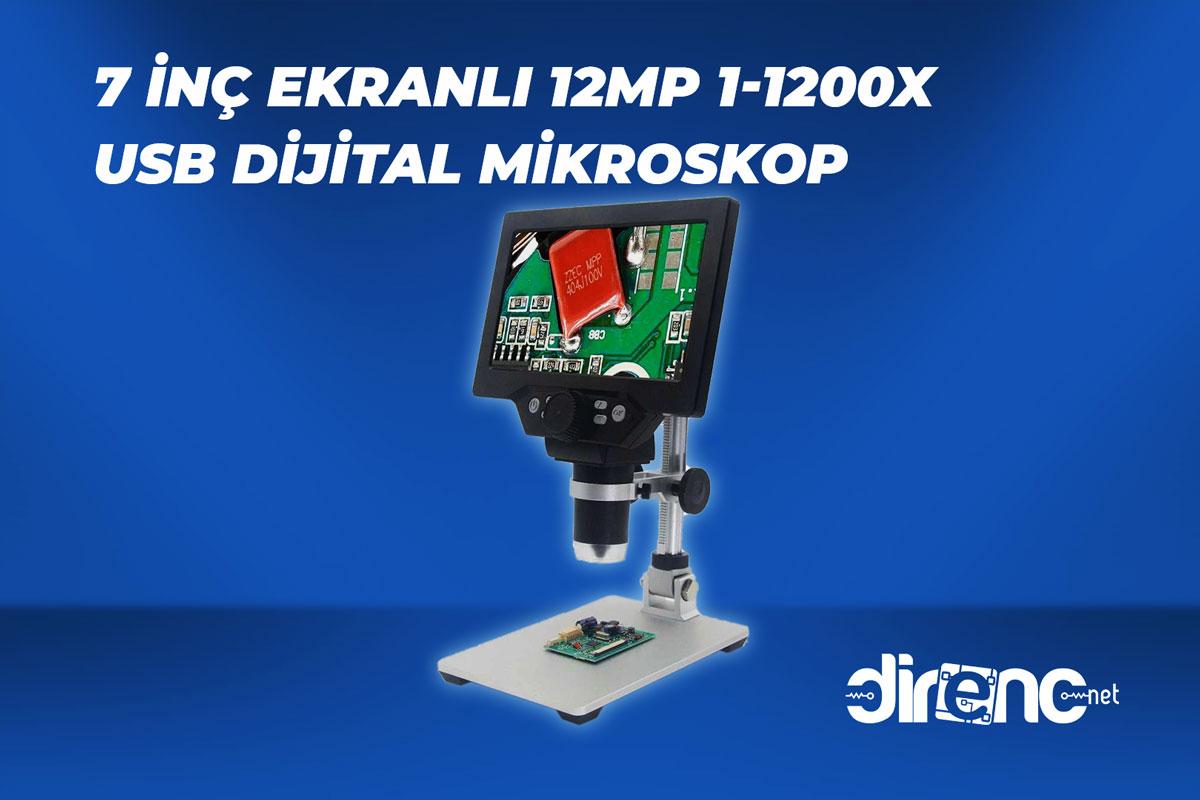 7 inç Ekranlı 12MP 1-1200X Usb Dijital Mikroskop