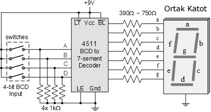 7 segment display 4551 entegre bağlantısı