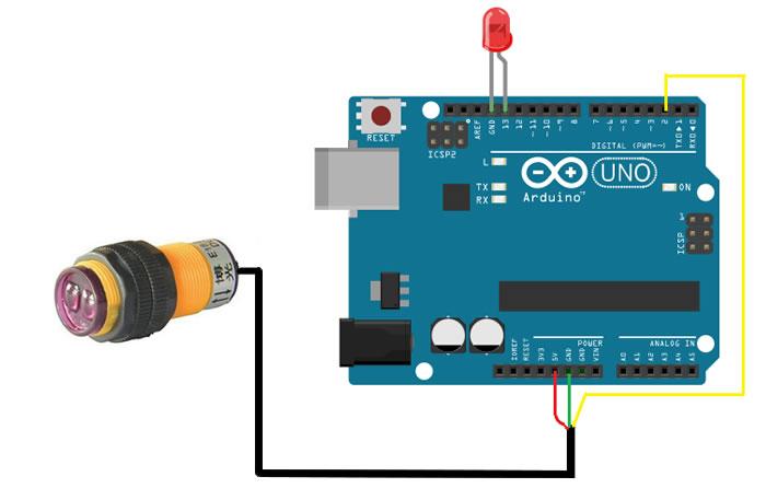 Kızılötesi Sensörü ile Temassız Anahtar Devresi Bağlantı Şeması
