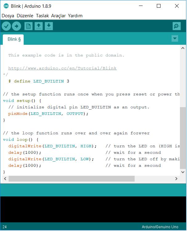 Arduino ile Led Yakmak Kodu