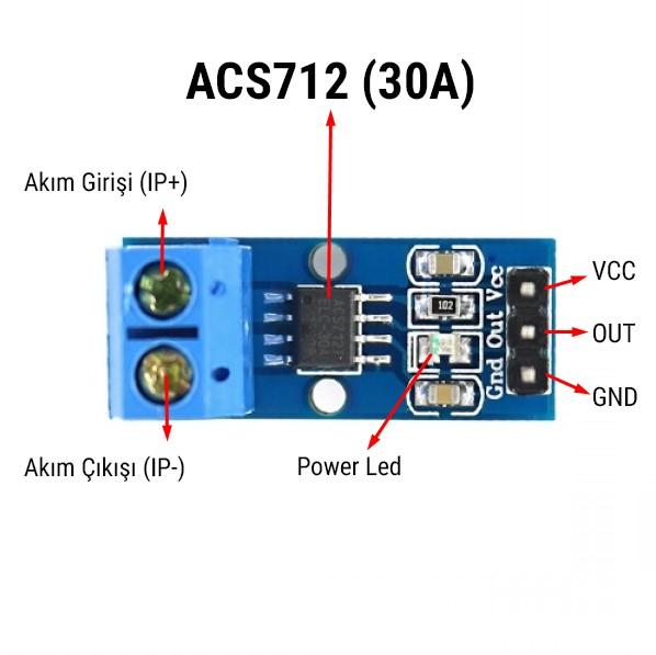 Acs712 akım sensörü modülü pin açıklaması