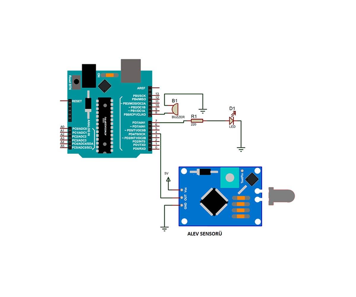 Kızılötesi Arduino Alev Algılama Sensörü Kullanımı (Yangın Sensörü)