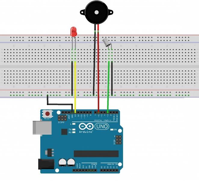 Arduino buzzer led tilt eğim